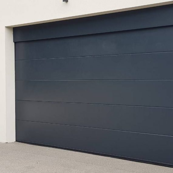 modern garage doors in navy blue