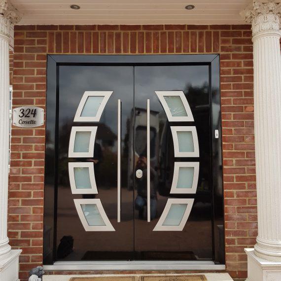 modern wide glass front door