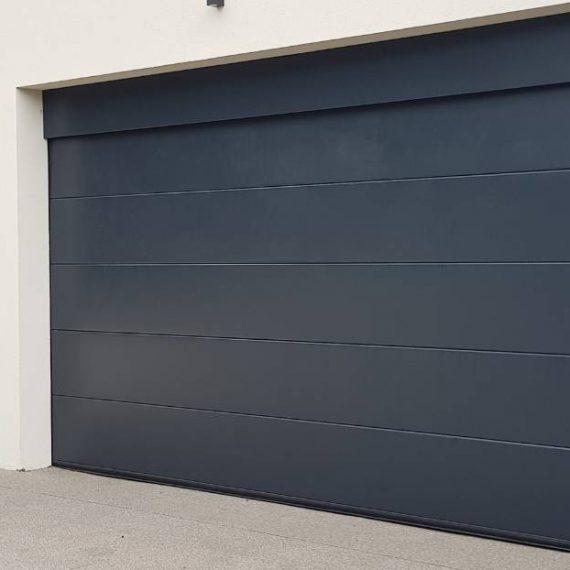 modern garage doors in navy blue